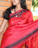 Red  Handpainted Bishnupuri Silk Saree