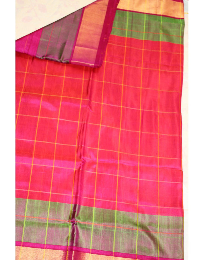 Red checked Uppada Silk Saree