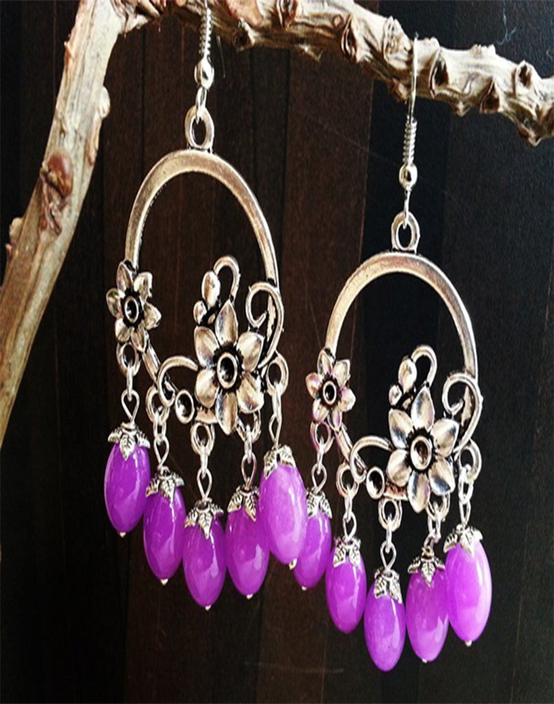 Flower Purple Beads Jumka