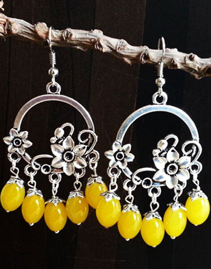 Flower Yellow Beads Jumka