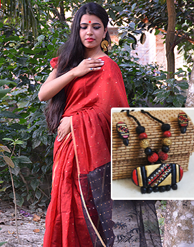 Ahinsa silk saree matched with terracota jewellery