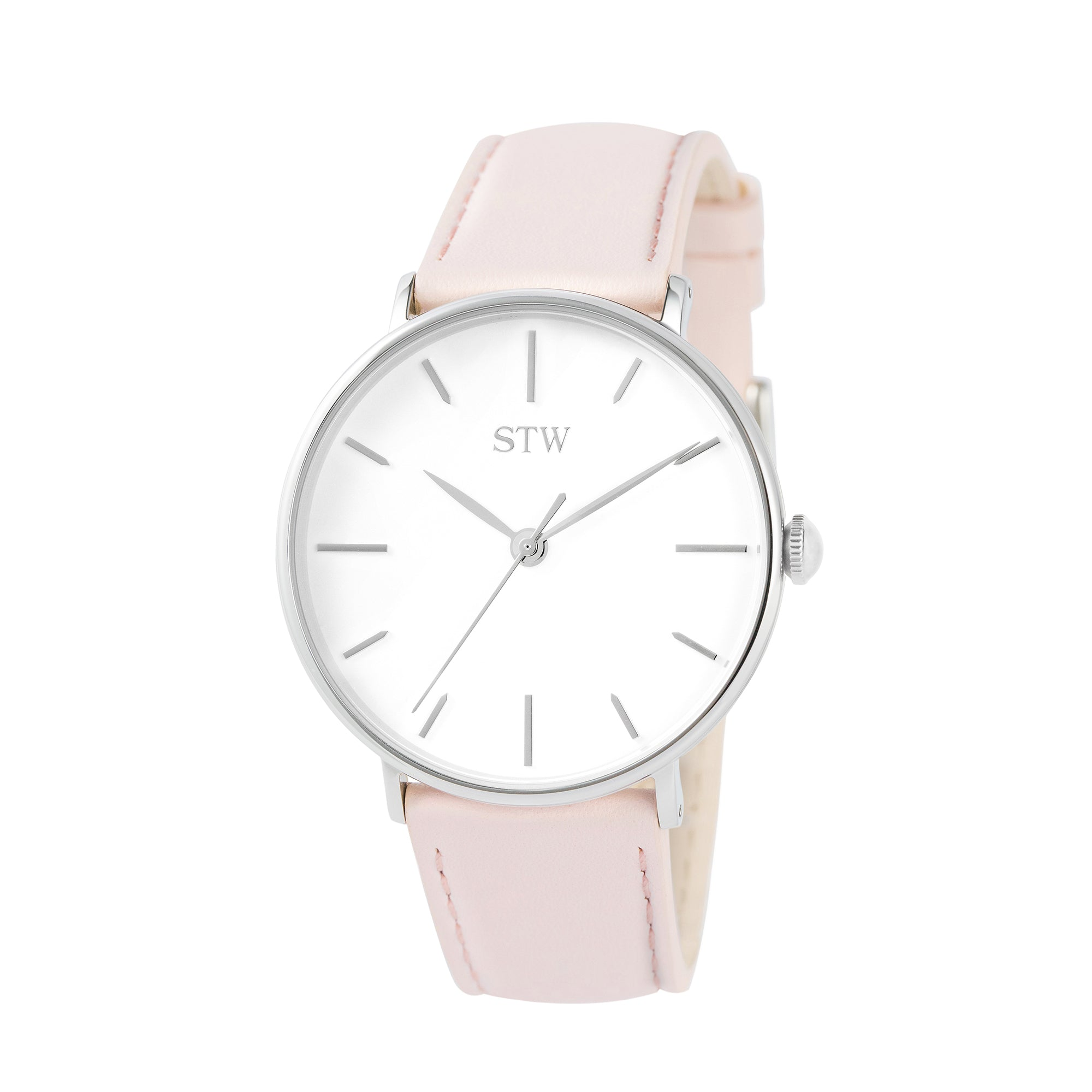THE HERITAGE -  WHITE DIAL / BABY PINK LEATHER STRAP WATCH