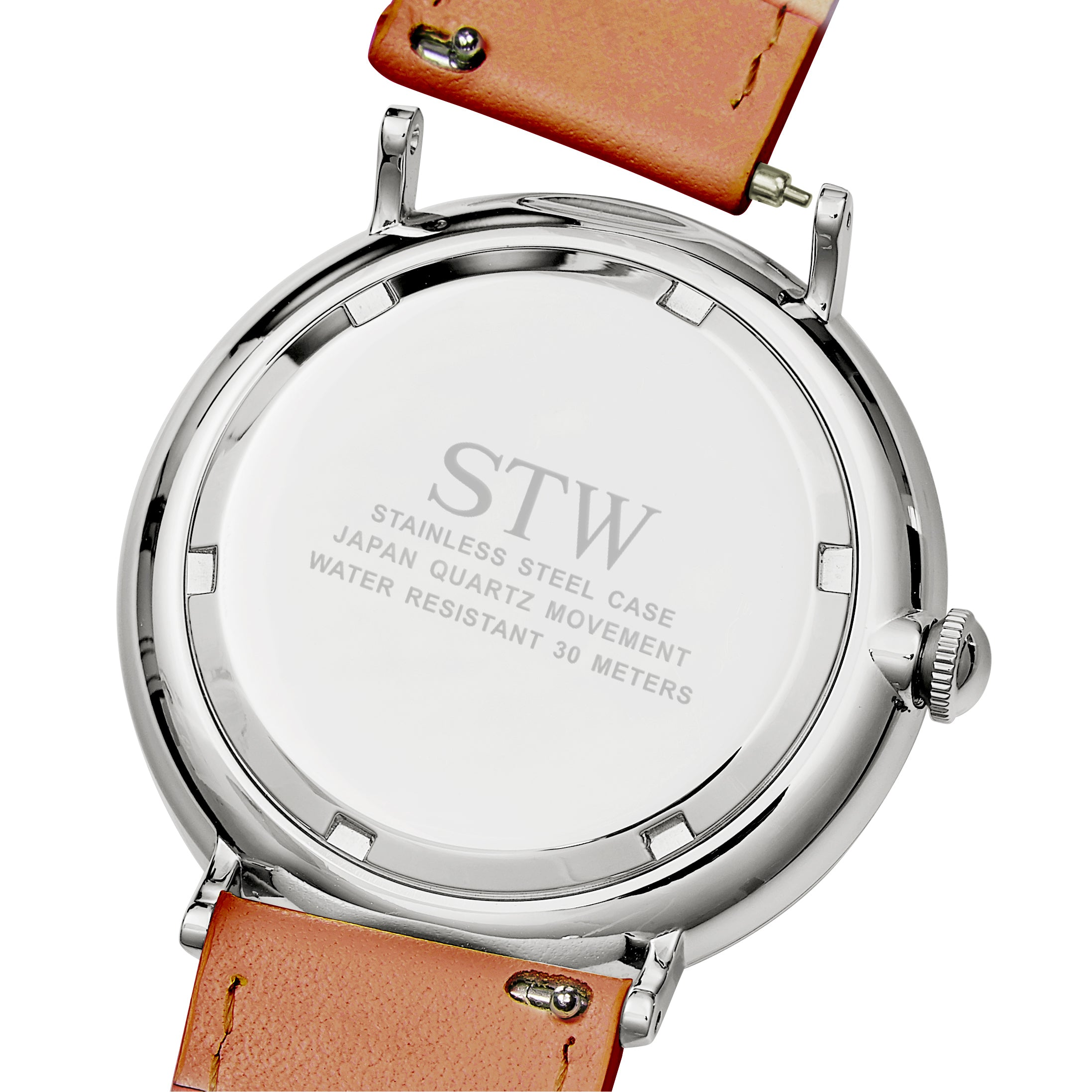 THE HERITAGE -  WHITE DIAL / RED BROWN LEATHER STRAP WATCH