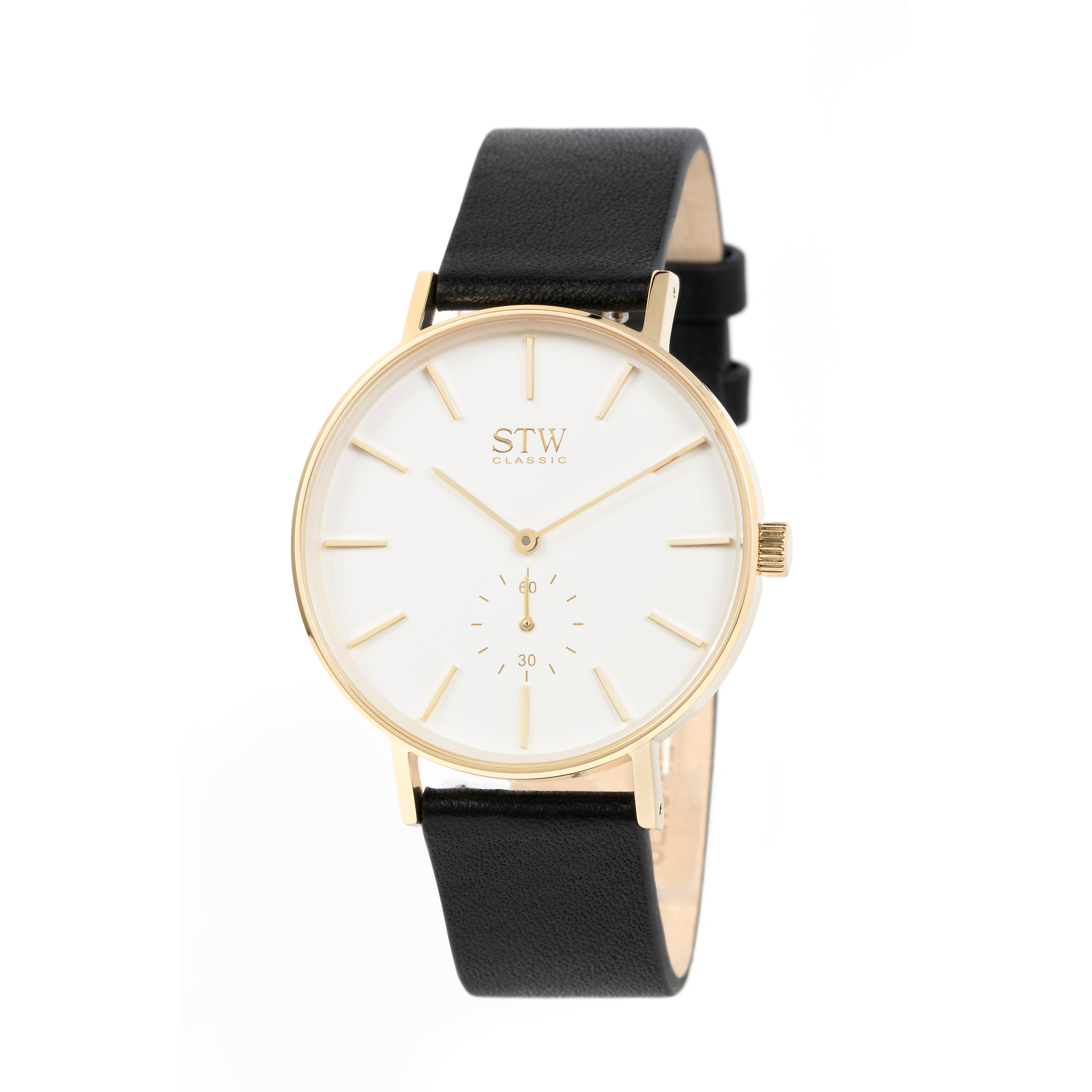 THE CLASSIC -  WHITE DIAL WITH BLACK LEATHER STRAP WATCH
