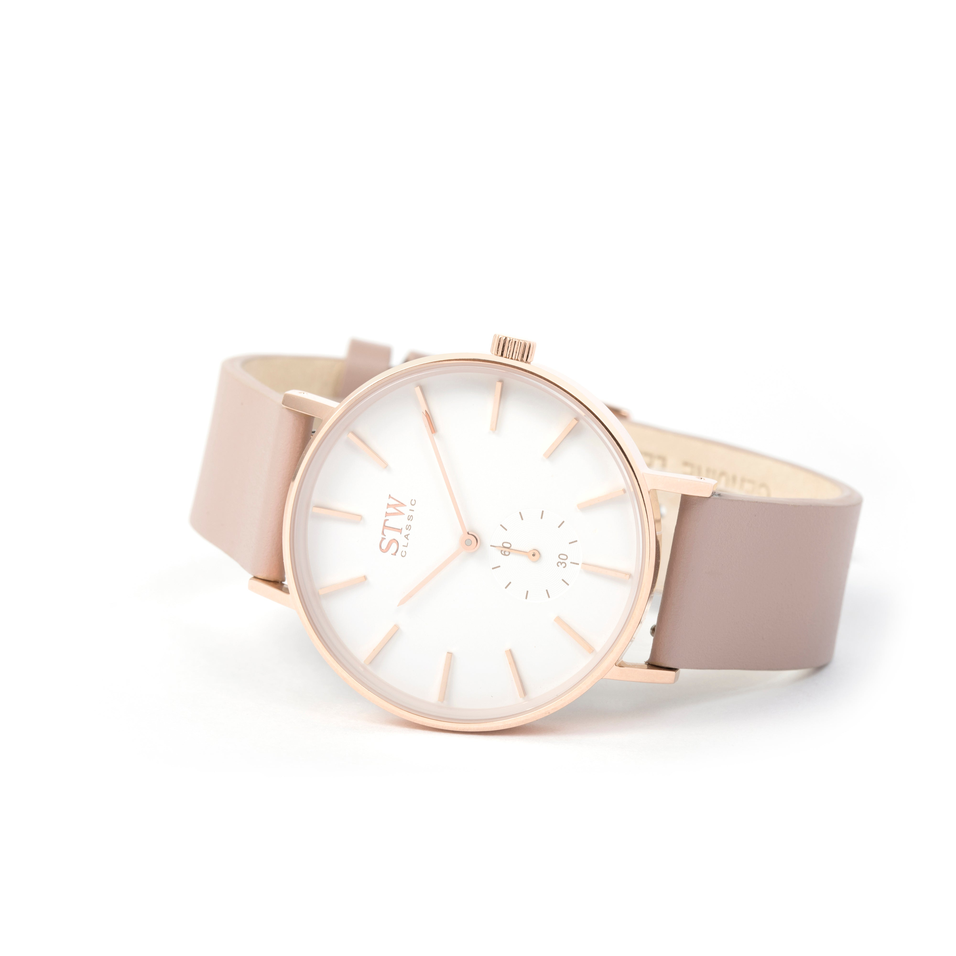 THE CLASSIC -  WHITE DIAL WITH PINK LEATHER STRAP WATCH