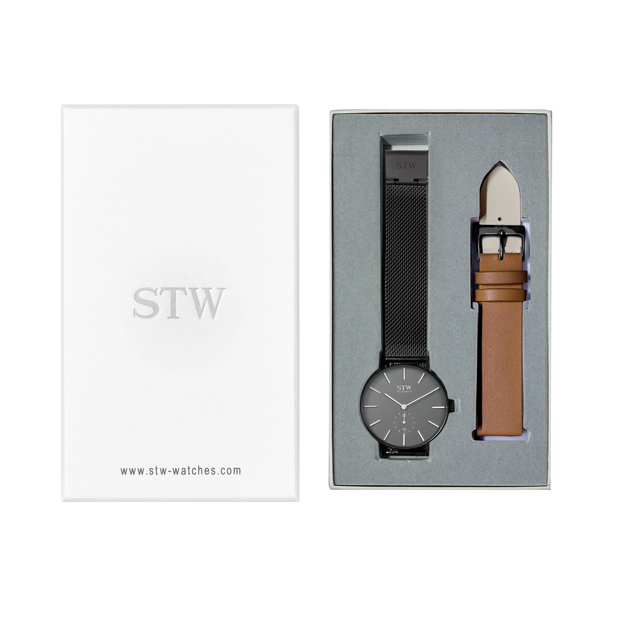 THE CLASSIC -  GREY DIAL / BLACK MESH BAND WATCH