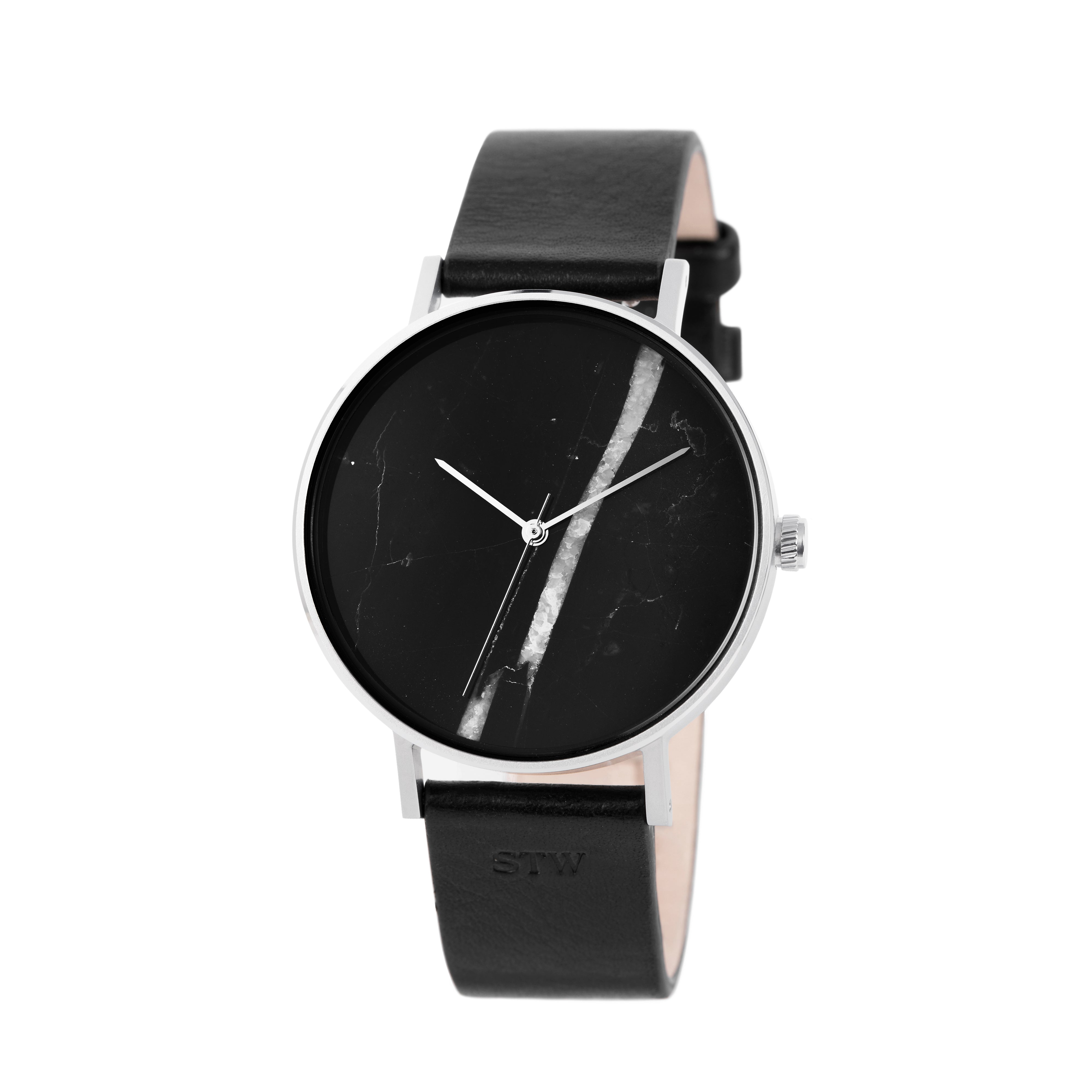 THE STONE -  BLACK ONYX DIAL / SILVER MESH BAND WATCH