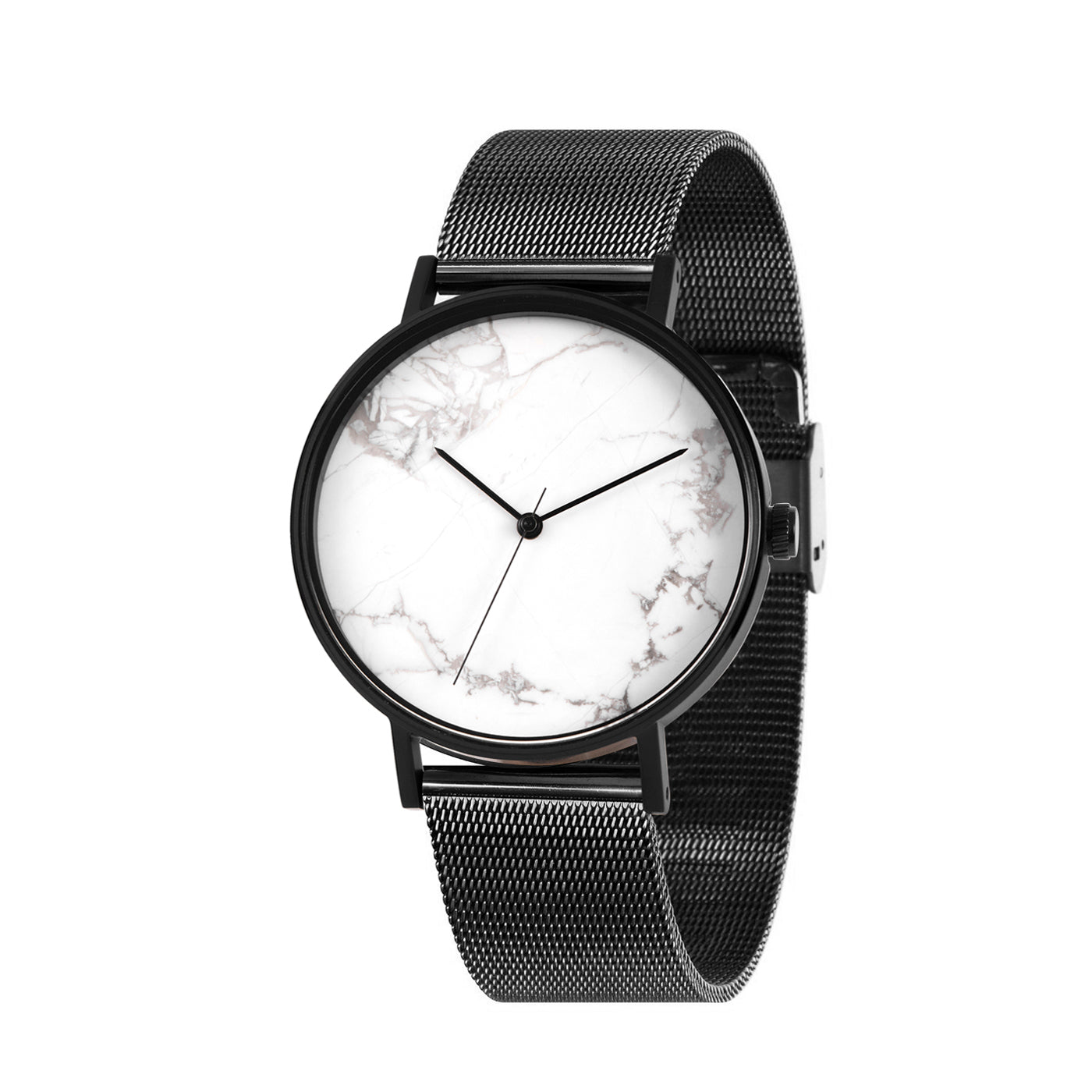 THE STONE -  WHITE MARBLE DIAL / BLACK MESH BAND WATCH