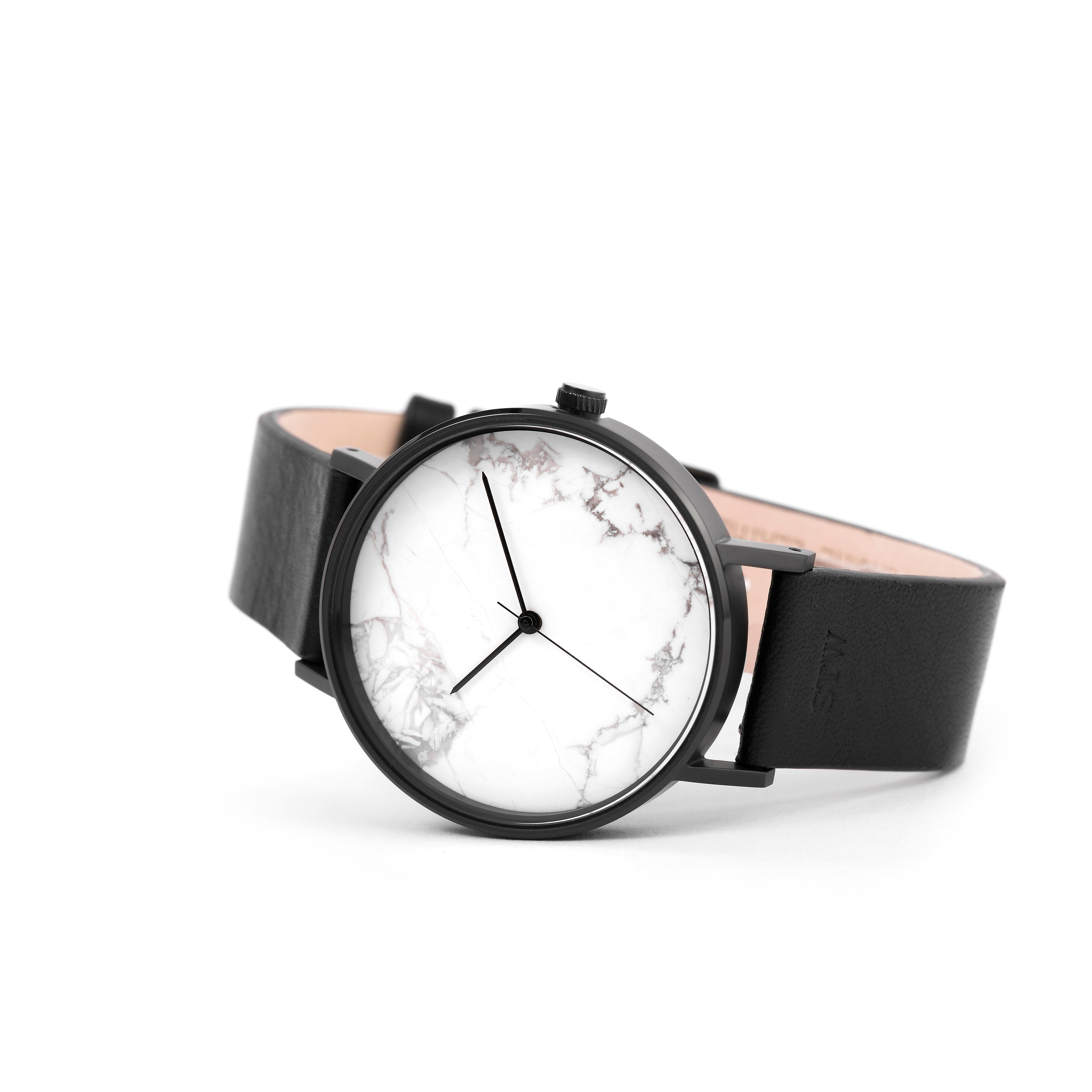 THE STONE -  WHITE MARBLE DIAL WITH BLACK LEATHER STRAP WATCH
