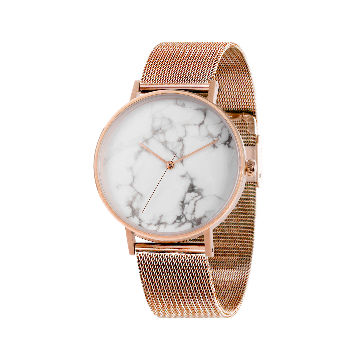 THE STONE -  WHITE MARBLE DIAL / ROSE GOLD MESH BAND WATCH