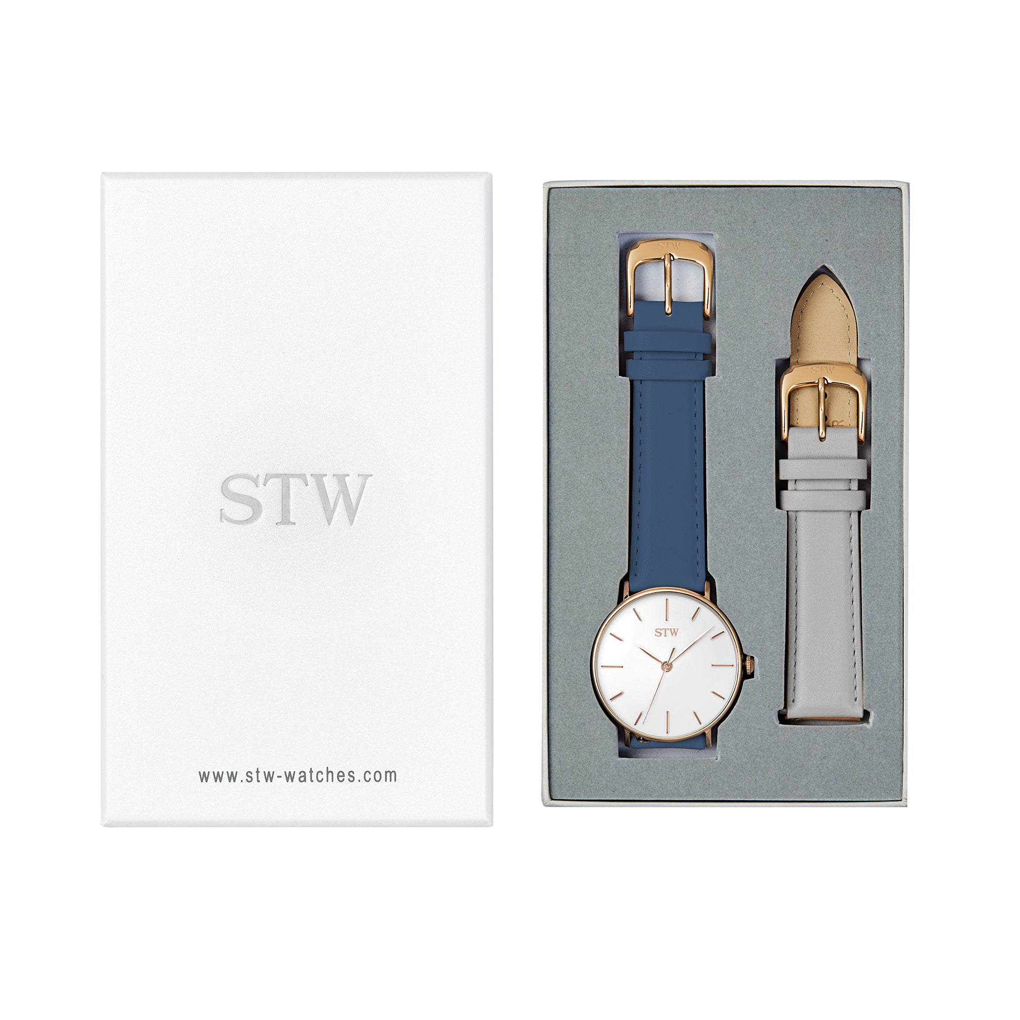 THE HERITAGE -  WHITE DIAL / BLUE LEATHER STRAP WATCH