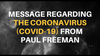 Message regarding the Coronavirus (Covid-19) from Paul Freeman