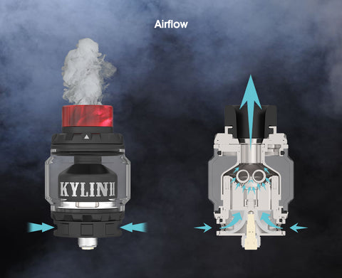 vandy vape kylin 2 rta review this image shows the airflow design which makes for the best vaping flavors