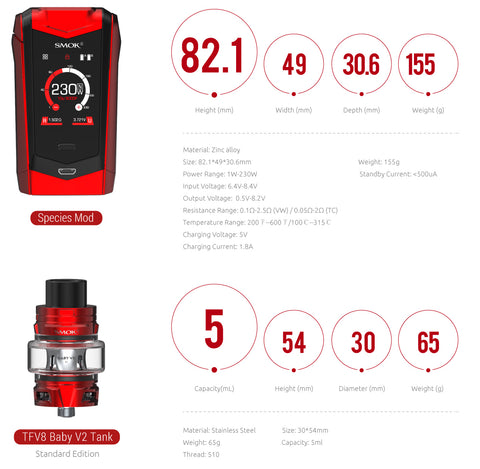 smok species review and the mod and vape tank specifications
