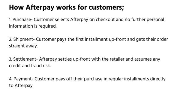 How afterpay works for customers