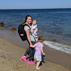 mum with toddler and baby wearing adventure nappy backpack