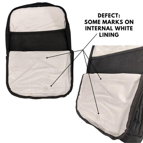adventure nappy backack factory seconds white lining with marks