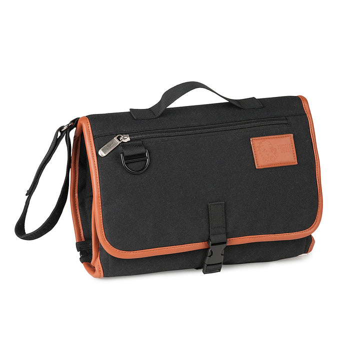puggle changing wallet black tan trim canvas wipeaeble linin