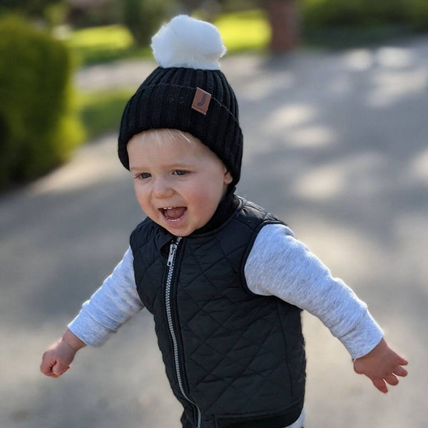 Little adventures baby beanie black with white pom pom