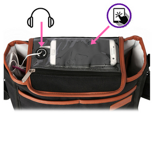 pram organiser smart phone window headphone opening