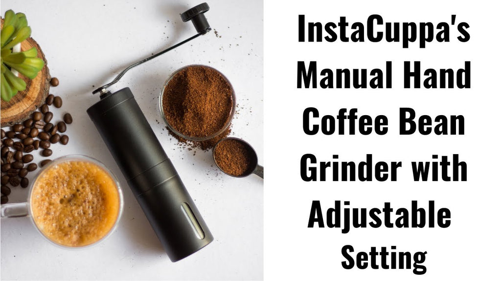 InstaCuppa Manual Hand Coffee Bean Grinder with Adjustable Setting