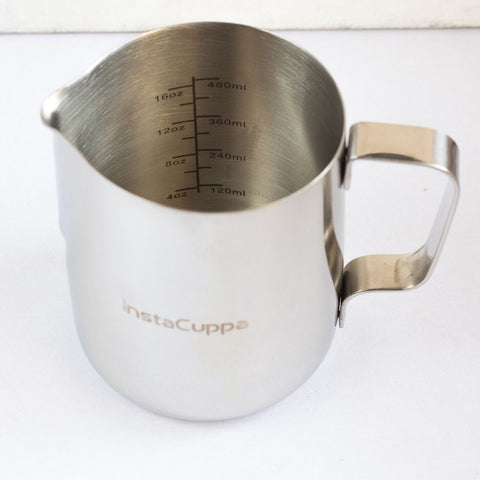 InstaCuppa Milk Frothing Pitcher Jug with Engraved Measurement Markings