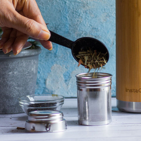 InstaCuppa Bamboo Green Tea Infuser Bottle 500 ML with Clever 2 In 1 Stainless Steel Infusion Unit