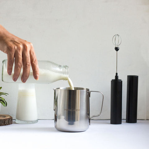 InstaCuppa Milk Frothing Pitcher Jug - How To Froth Milk - Step 1