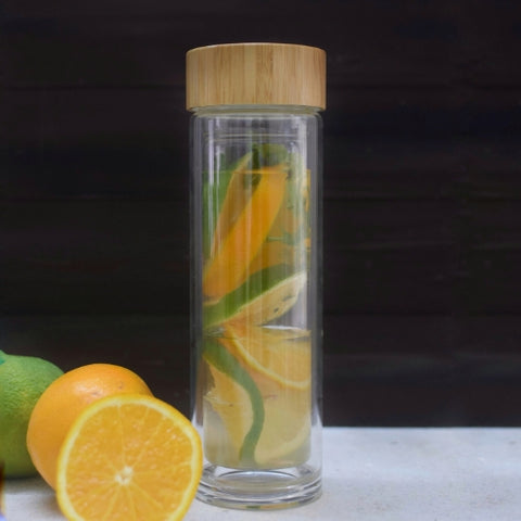 InstaCuppa Double Walled Borosilicate Glass Fruit Infuser Water Bottle