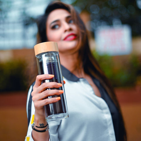 InstaCuppa Double Walled Borosilicate Glass Tea Infuser Bottle - Easy To Carry Around and Fits Into Your Backpack