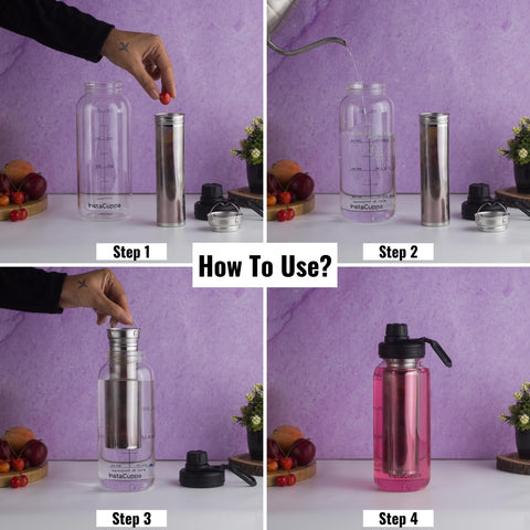 InstaCuppa BPA Free Borosilicate Glass Infuser Water Bottle 1000 ML with Sports Sipper Lid - How To Use The Stainless Steel Infuser?