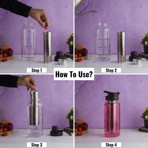 InstaCuppa BPA Free Borosilicate Glass Infuser Water Bottle 1000 ML with Flip Top Sipper Lid - How To Use The Stainless Steel Infuser?