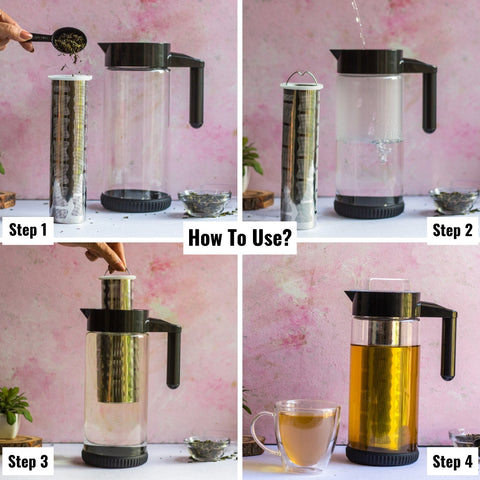 InstaCuppa Borosilicate Glass Cold Brew Coffee Maker - How To Brew Iced Tea