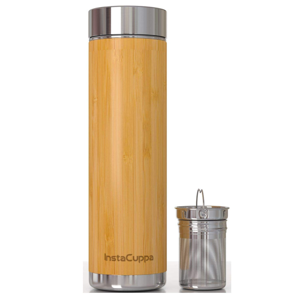InstaCuppa Bamboo Green Tea Infuser Bottle, 500 ML with Removable Stainless Steel Filter, Idle for Hot and Cold Detox Brews