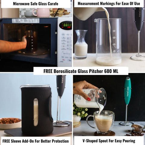 Image of InstaCuppa Milk Frother and Borosilicate Glass Frothing Pitcher 600 ML Combo, Battery Operated Handheld Electric Coffee Beater, Includes Steel Stand,