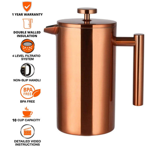 Buy InstaCuppa Copper French Press Coffee Maker Online