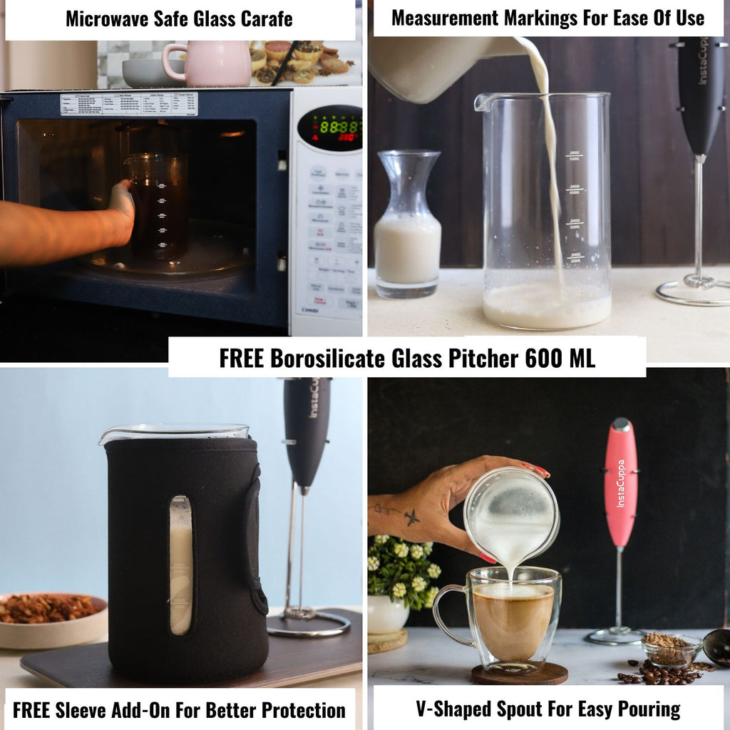 InstaCuppa Milk Frother and Borosilicate Glass Frothing Pitcher 600 ML Combo, Battery Operated Handheld Electric Coffee Beater, Includes Steel Stand,