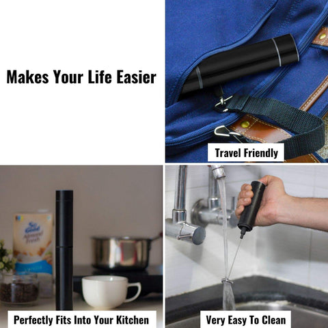 InstaCuppa Travel Milk Frother / Coffee Beater with Rechargeable Batt ery, Black Color - Makes Your Life Easier