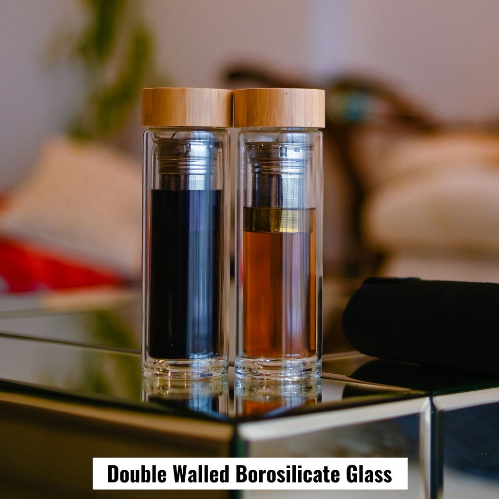 InstaCuppa Double Walled Borosilicate Glass Tea Infuser Bottle Includes 2 in 1 Clever Stainless Steel Filter Strainer