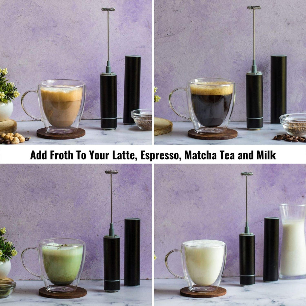 InstaCuppa Travel Milk Frother / Coffee Beater with Rechargeable Battery, Black Color - Easily Add Froth To Your Lattes, Cappuccinos, Espresso, Matcha Tea and Milkc