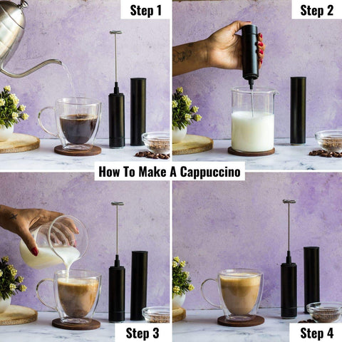 InstaCuppa Travel Milk Frother / Coffee Beater with Rechargeable Battery, Black Color - How To Make A Cappuccino?