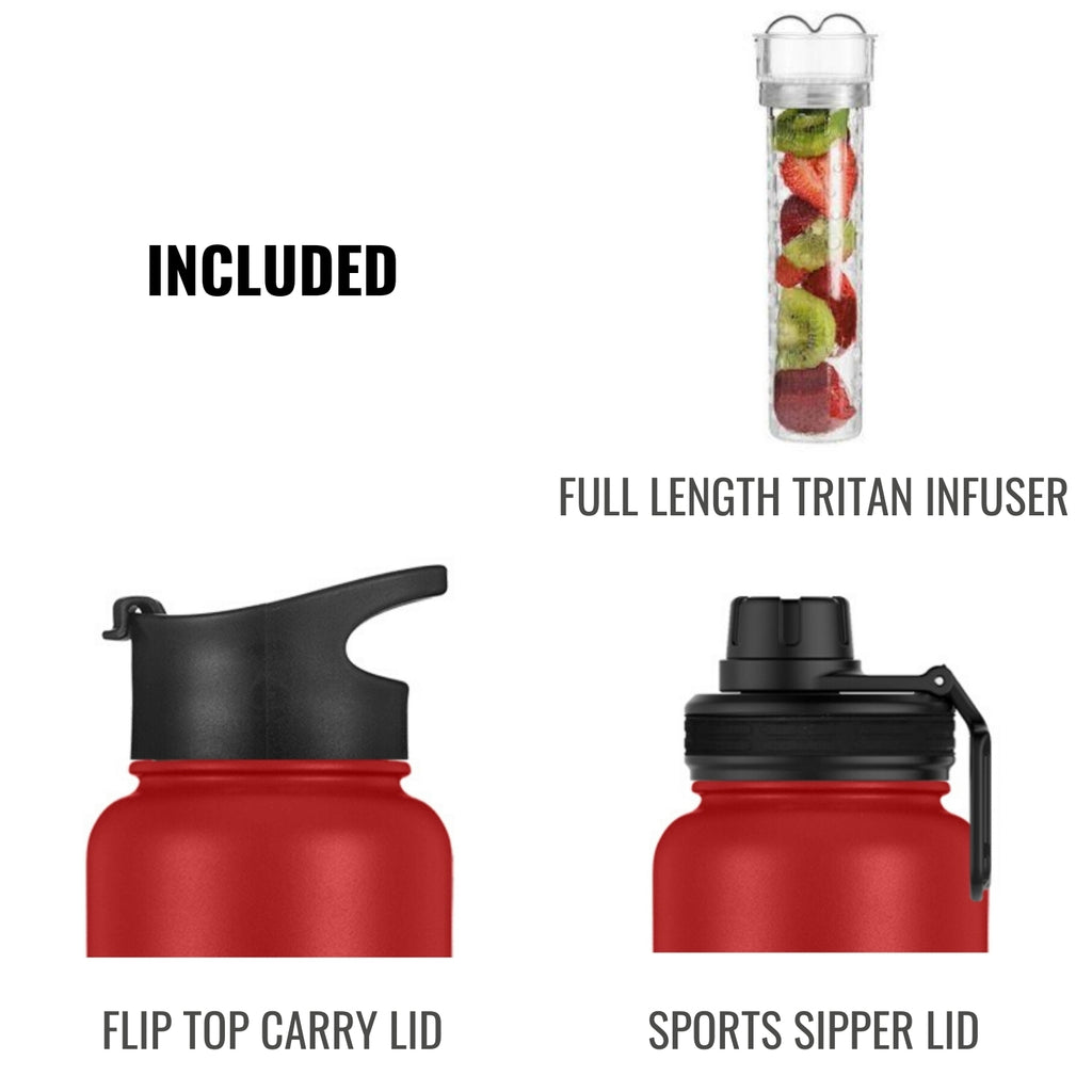 InstaCuppa Thermos Steel Fruit Infuser Water Bottle 1 Litre, Tritan Infusion Unit, FREE Recipe eBook, 2 Lids (Black)