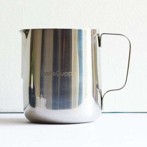 Image of InstaCuppa Milk Frothing Pitcher Jug - 600 ml, Measurement Markings, Mirror Polished Stainless Steel Pot, Easy to Pour V-Spout, Heat Resistant Handle
