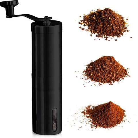 InstaCuppa Manual Hand Coffee Bean Grinder with Ceramic Burr and Adjustable Settings, Black Color