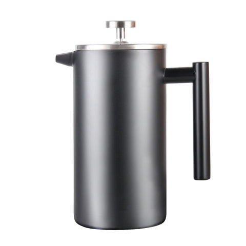 InstaCuppa French Press Coffee Maker 1000 ML, 304 Grade Stainless Steel Metal Build, 4 Part Superior Filtration, Double Walled Construction, Dishwasher Safe