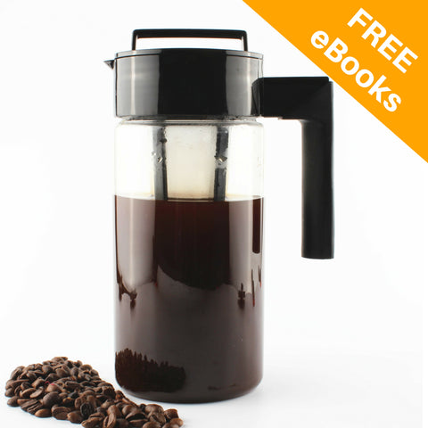Image of InstaCuppa Tritan Infuser Pitcher 1300 ML for Cold Coffee and Iced Tea with Nylon Mesh Infusion Unit, 2 Recipe eBooks and Cleaning Brush