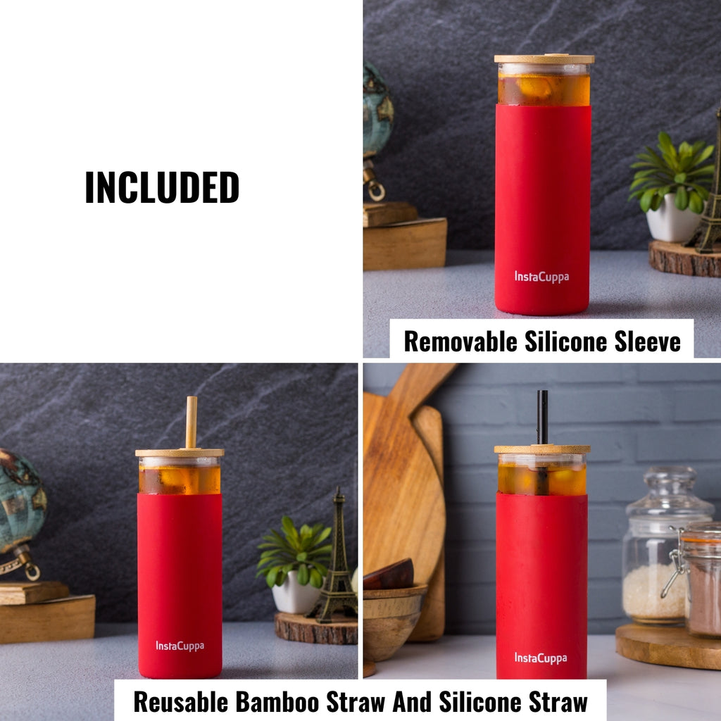 InstaCuppa Borosilicate Glass Tumbler with 2 Unique Straws and Bamboo Lid, Removable Silicone Protective Sleeve