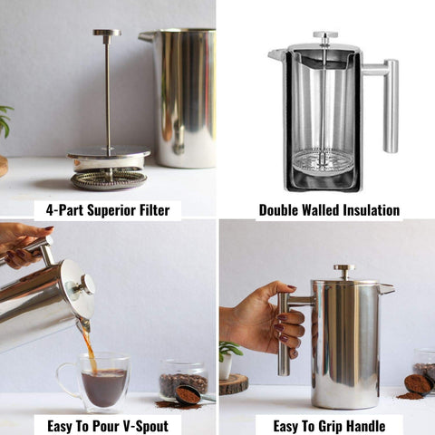 Order 4 Part Superior Filter on French Press Coffee Maker