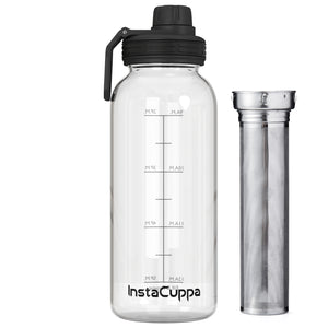 InstaCuppa BPA Free Borosilicate Glass Infuser Water Bottle 1000 ML with Sports Sipper Lid, Full Length Stainless Steel Infuser, Innovative Hydration Reminder Time Markings and Neoprene Sleeve for Extra Protection