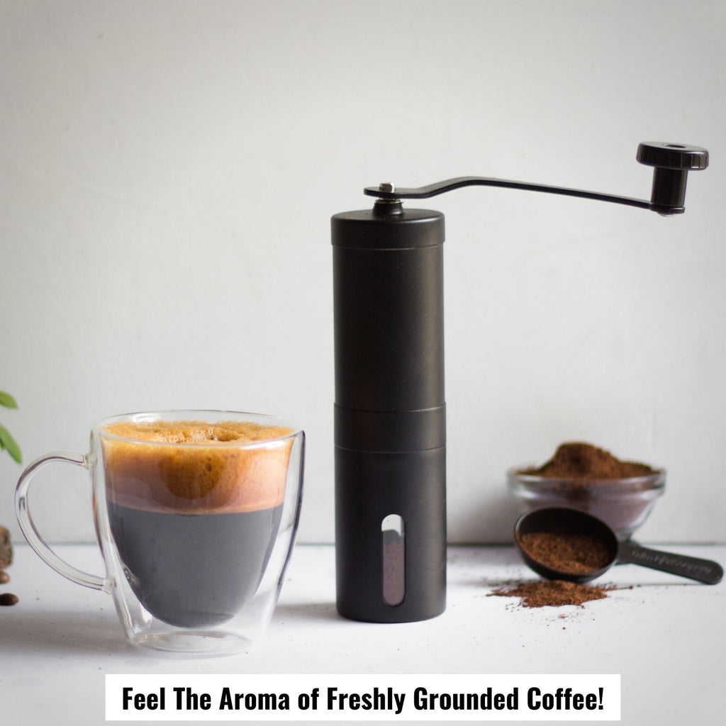 InstaCuppa Manual Hand Coffee Bean Grinder with Ceramic Burr - Feel The Aroma Of Freshly Grounder Coffee, Black Color